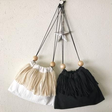 cotton linen fringe pouch (black)