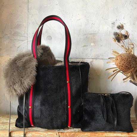 fur tote  bag (black)