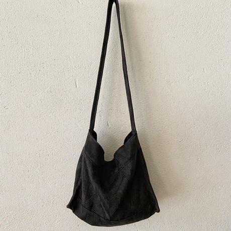 french linen herringbone shoulder bag (black)