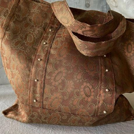 vintage  damask cloth  bag (brown)