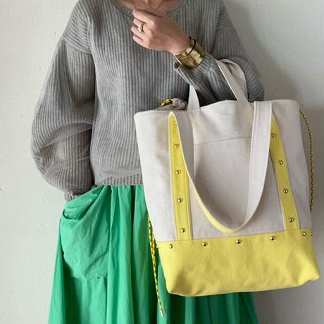canvas 2way tote bag  (lemon)