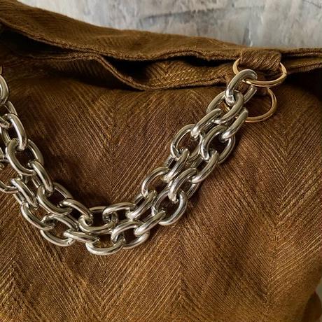 french linen herringbone 2way bag (khaki gold)