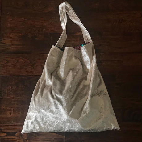 african fabric/velour bag (white)