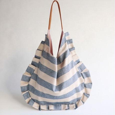 stripe frill bag (ecru & blue)