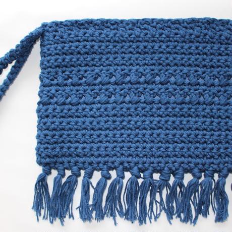 コットンクラッチバッグ  (ブルー)