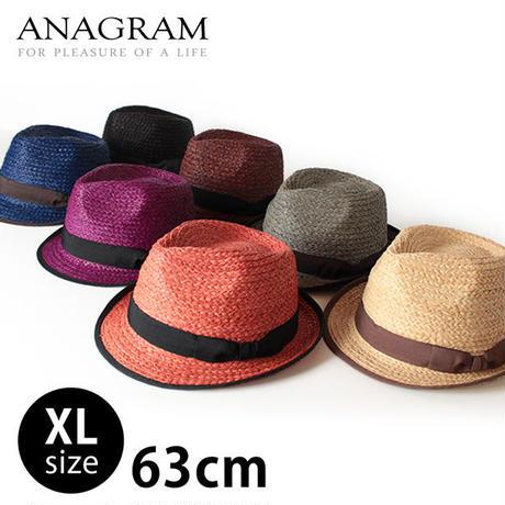 ANAGRAM アナグラム ラフィアハット 麦わらハット 麦わら帽子 中折れハット 大きいサイズ 帽子 61cm 62cm 63cm UV対策 UVカット帽子 紫外線対策 AGM1401