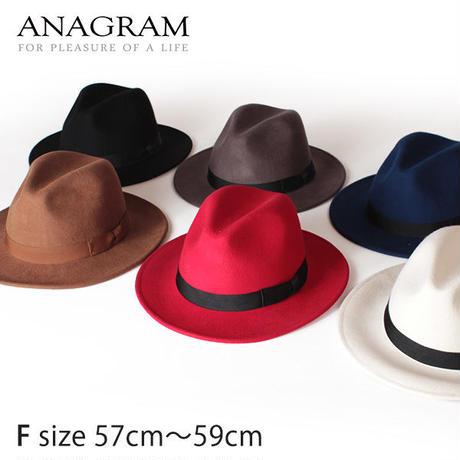 ANAGRAM アナグラム つば広帽子 ウールフェルトハット 中折れハット 羽根付き帽子 F57cm~59cm AGM1317