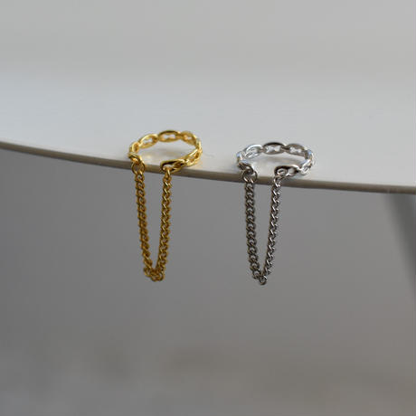 earcuff-a02021  SV925  Double  Chain   Earcuff
