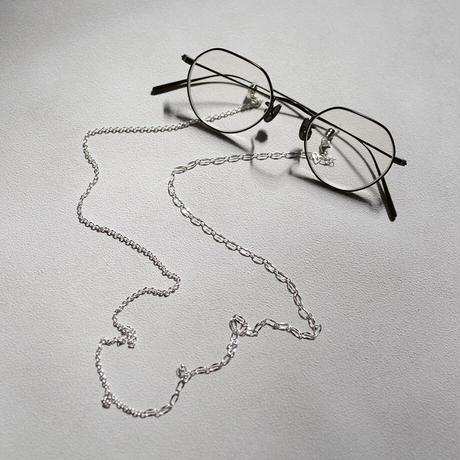[ONE OFF] Silver925 / 3Way メガネチェーン&マスクチェーン ワイヤレスイヤホンストラップ 【ハーフ&ハーフ・アズキ&デザイン】シルバー925
