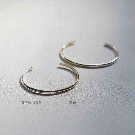 Silver925+真鍮 コンビネーションバングル・ラウンド [Artisan Works] シルバー925と真鍮のコンビ / シンプル 甲丸