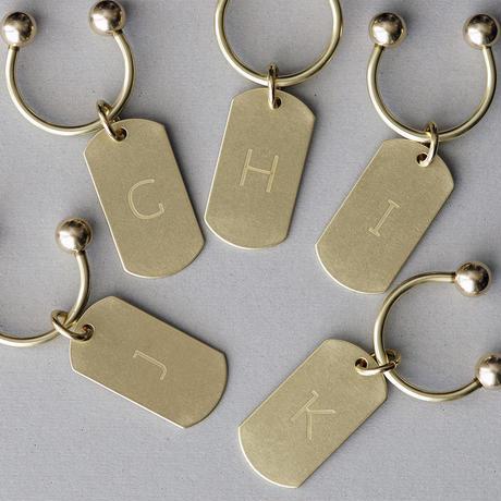 真鍮製 キーホルダー (イニシャル&ナンバー)