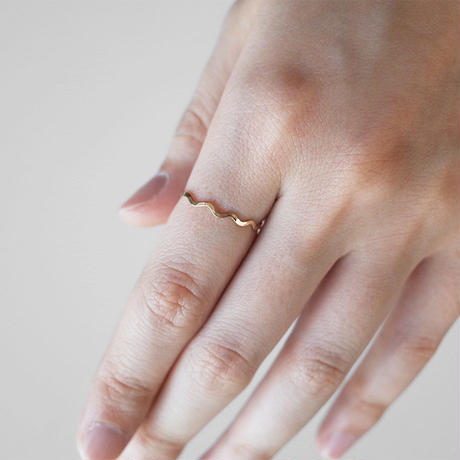 [10min Ring] K14GF / リバーシブル鎚目リング(なみなみ&ストレート)