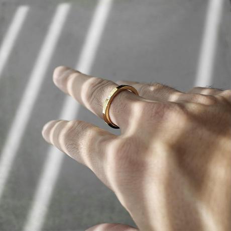 [INITIAL] Silver925+Gold P / シンプル・フラットリング / シルバー925 / 金メッキ / 指輪