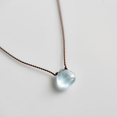 Margaret Solow  Small Smooth Stone Necklace   Aquamarine