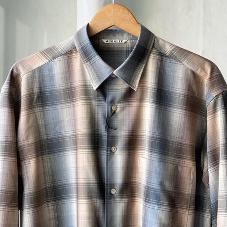 AURALEE SUPER LIGHT WOOL CHECK SHIRTS (Mens) A20AS01LC