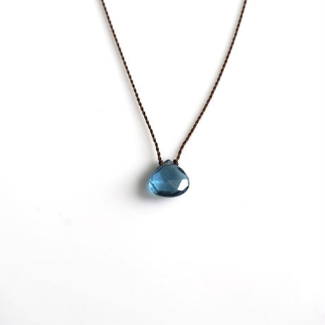 Margaret Solow Small Faceted Stone Necklace   London Blue Topaz