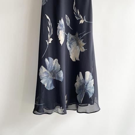 Flower navy one-piece