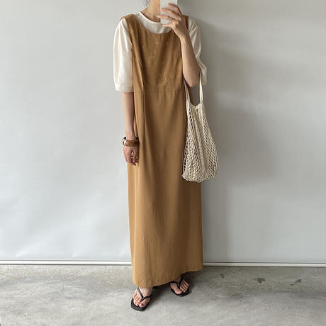 camel embroidery one-piece