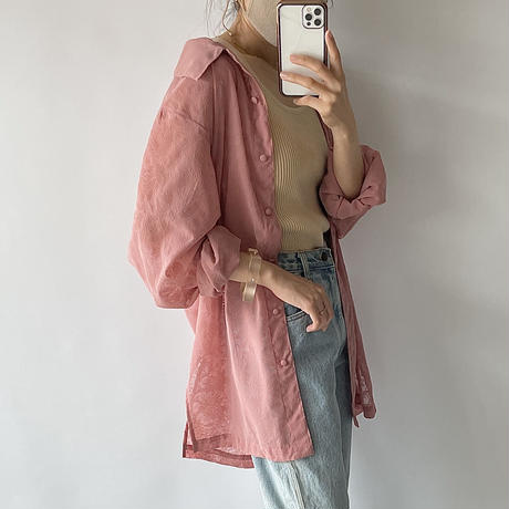 Flower see-through pink shirt