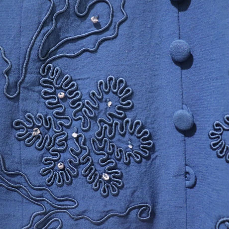 Blue embroidery one-piece