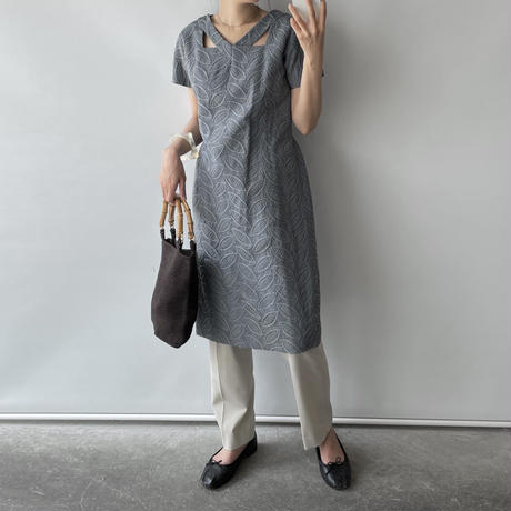 Blue gray embroidery one-piece