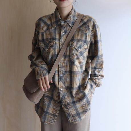 Wool check shirt (yellow)