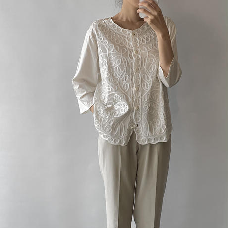 Code embroidery tops