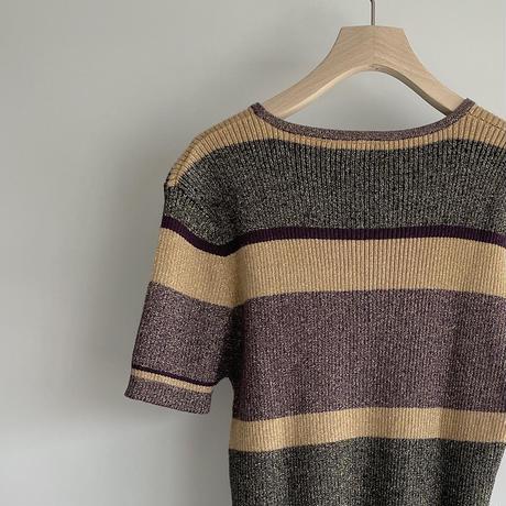 Glitter purple rib knit