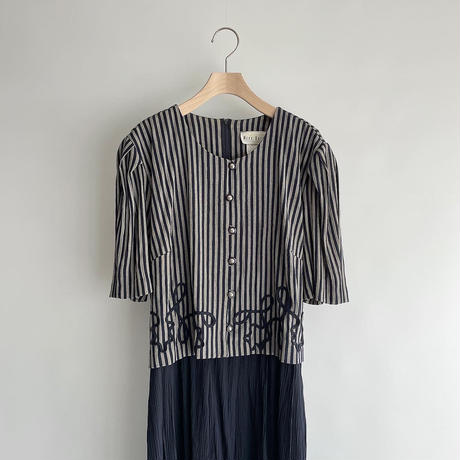 Stripe navy one-piece