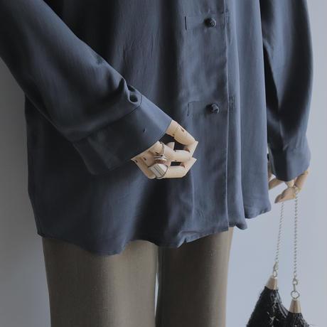 Navy silk china shirt