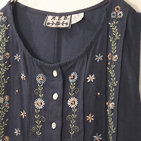 flower embroidery one-piece