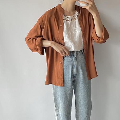 Orange stand collar shirt