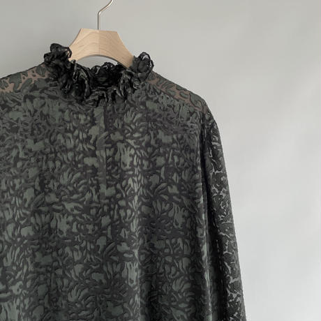 Hi neck frill leopard blouse