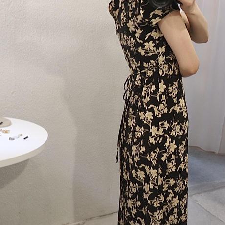 Oriental flower one-piece