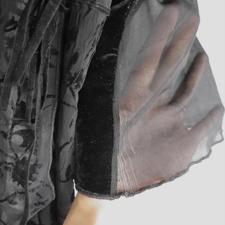 see-through & velours blouse