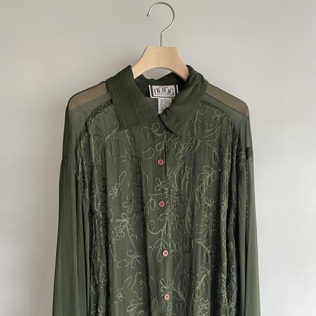 Green see-through shirt