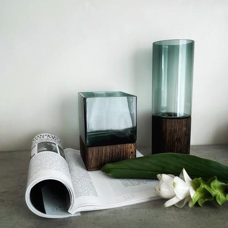 クリアグリーンガラス×ウッド スクエアショート