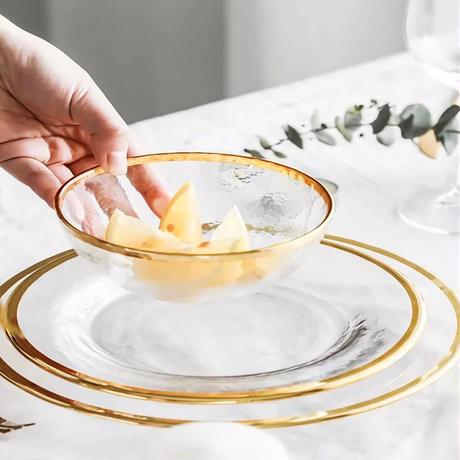 クリアガラスプレート ゴールドフレーム ラージ