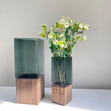 クリアグリーンガラス×ウッド ラージ