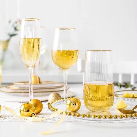 ストライプゴールド ワイングラス