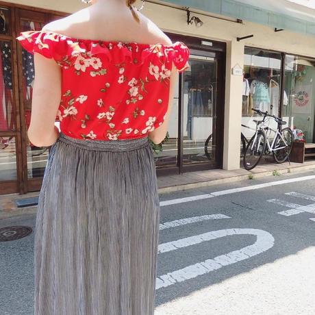 Flower print off-shoulder tops