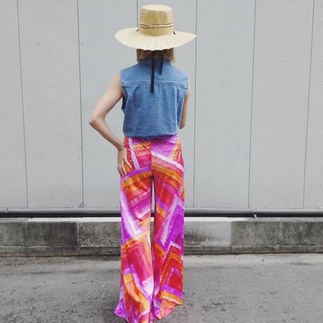 Watercolor pattern flare pants