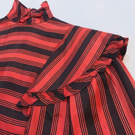Stripe frill blouse