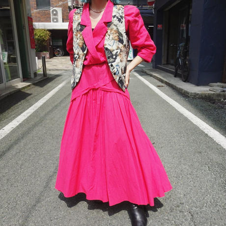 Vivid pink cotton onepiece