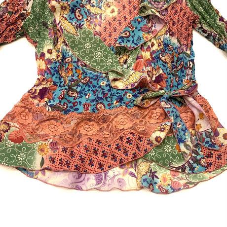 Flower wrap shirt