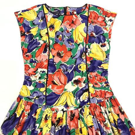 80s' flower shirring onepiece