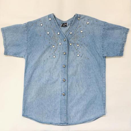 Star studs denim shirt