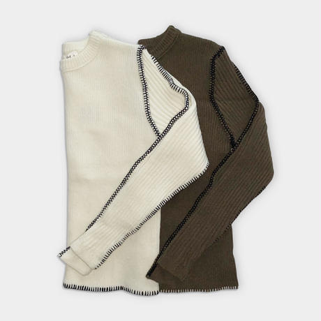 2color Stitch rib knit/2カラー ステッチ リブ ニット