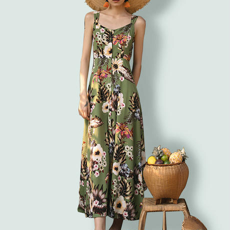 tropical flower motif dress/トロピカル 花柄 ワンピース ドレス