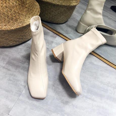 Square toe short boots/スクエアトゥ ショートブーツ(2color)